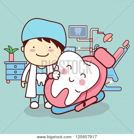 cartoon dentist or doctor with tooth sit on the chair and thumb up great for dental care concept