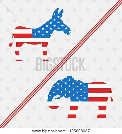 Illustration Donkey and Elephant as a Symbols Vote of USA. United States Political Parties - Vector