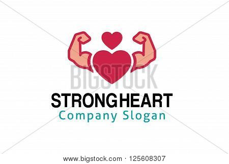 Strong Heart Creative And Symbolic Logo Design Illustration