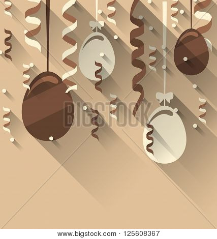Illustration Easter Background with Chocolate Eggs and Serpentine, Trendy Flat Style with Long Shadows - Vector