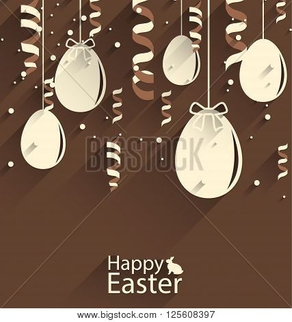 Illustration Happy Easter Chocolate Background with Eggs and Serpentine, Trendy Flat Style with Long Shadows - Vector