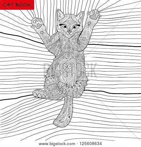 coloring book for adults - kitten on the blanket - zentangle cat book ink pen black and white background intricate pattern