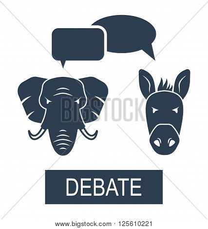 Illustration Concept of Debate Republicans and Democrats. Donkey and Elephant as a Symbols Vote of USA - Vector