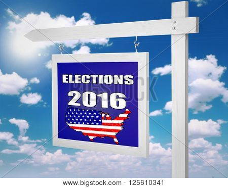 Text Elections 2016 on pointer on sky background