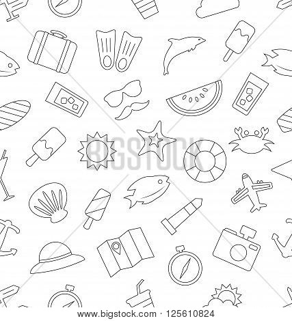 Illustration Seamless Pattern with Tourism and Holiday Objects and Icons. Summer Texture, Outline Style - Vector