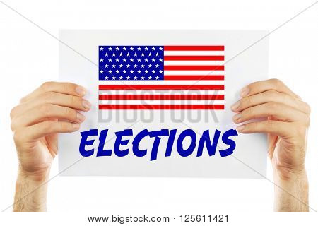 Hands holding card with text Elections isolated on white