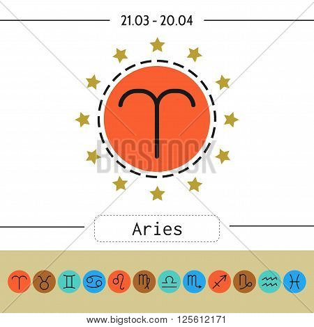 Aries, zodiac sign icon for horoscopes, predictions. Vector illustration