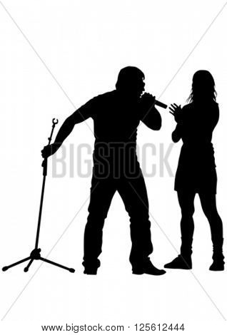 Musicians style of rap on white background