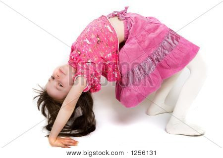 Young Girl Playfully Stretching