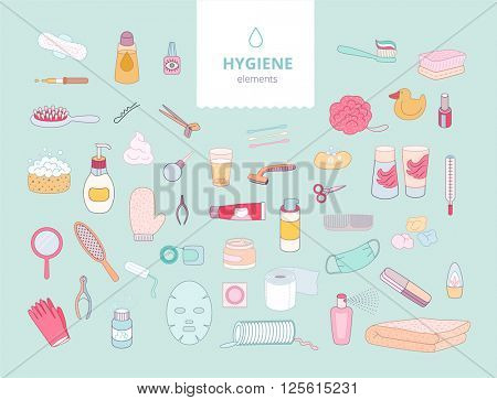 The set of hygiene elements on green background, flat cartoon vector illustration