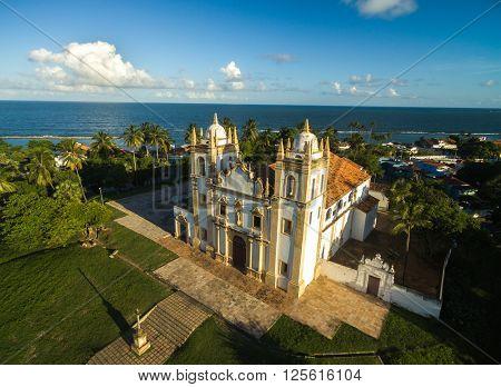 Aerial view of Carmo church in Olinda, Pernambuco, Brazil