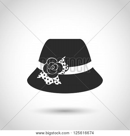 vector black icon hat on a white background with shadow