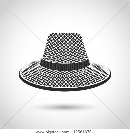 vector black icon straw hat on a white background with shadow