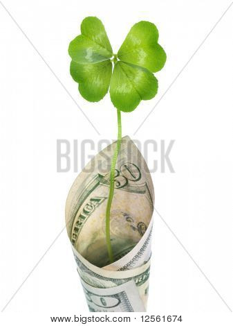 Four Leaf Clover in 100 US Dollars banknote