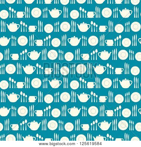 Crockery seamless pattern. Simple flat shapes of various dishes, such as spoon, fork, knife, pots, cups and saucers. Vector background.