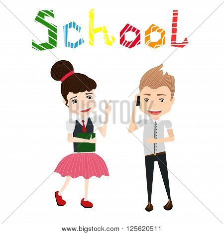 Cute Colorful Vector School Illustration with School Girl, School Girl, School Boy and Colorful School Typography Lettering