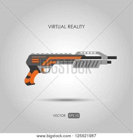Shotgun. Gun for virtual reality system. Video game weapons. Video game guns. Vector illustration