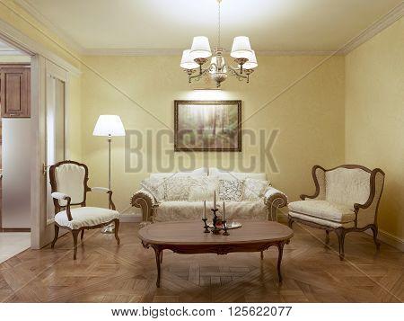Living room classic style, cream furniture. 3d render