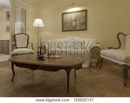 Living room art deco style. 3d render