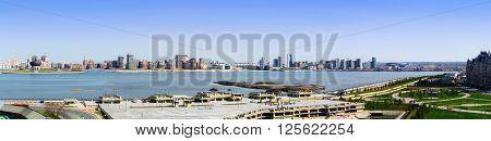 Kazan Tatarstan Russia - May 02 2015: Panoramic view of Kazan and Kazanka river