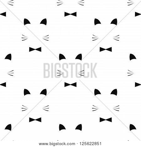 Cute seamless pattern with hand drawn fox, stock vector, black and white