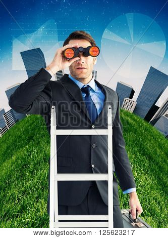 Businessman looking on a ladder against white clouds under blue sky