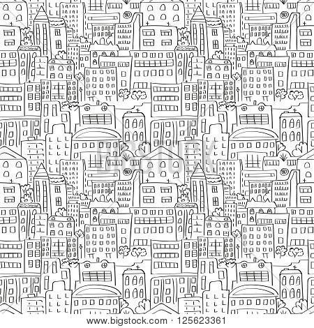Cityscape seamless pattern. Doodle urban background. Vector illustration.