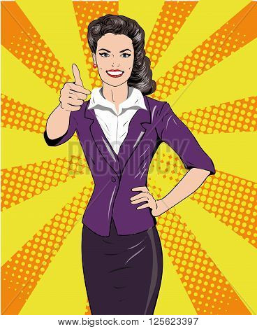 Pop art retro style woman showing thumb up hand sign. Comic hand drawn design vector illustration.