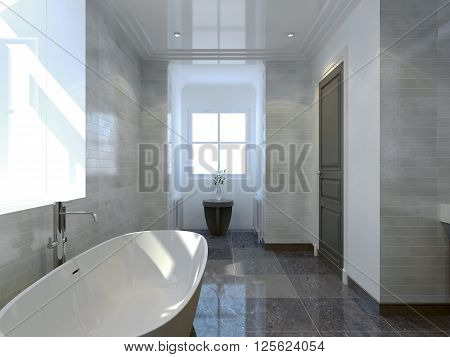 Spacious bathroom interior with window. 3D render