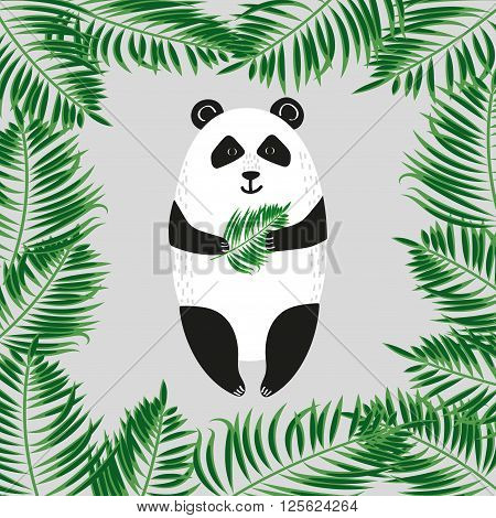 Cute cartoon panda bear with green leaves. Vector illustration.