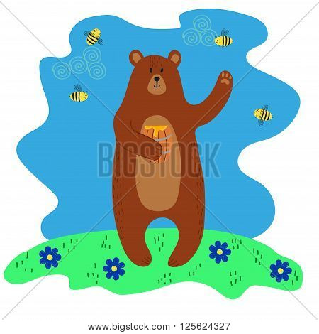 Happy cute brown bear holding the barrel with honey. Colorful vector illustration.