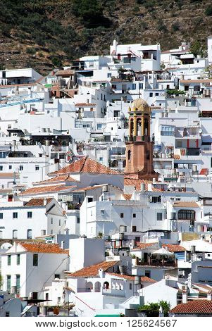 TORROX, SPAIN - JULY 1, 2008 - View of the town with the The Assumption (La Asuncion) church tower to the centre Competa Malaga Province Andalucia Spain Western Europe, July 1, 2008.