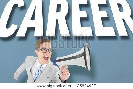 Geeky businessman shouting through megaphone against purple vignette