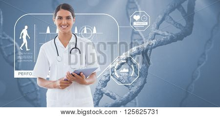 Happy doctor holding clipboard against view of dna