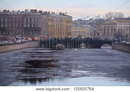 St. Petersburg, Russia - March, 13, 2016: Ice on Fontanka river in St. Petersburg, Russia.