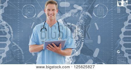 Happy doctor writing on clipboard beside windows against view of dna