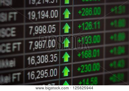 Financial data on a monitorStock market data on LED display concept