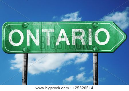 ontario road sign on a blue sky background