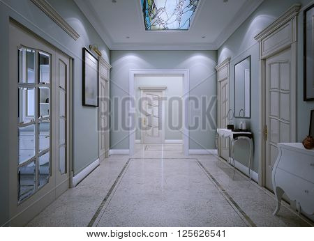 Entrance hall in classic style. 3d render