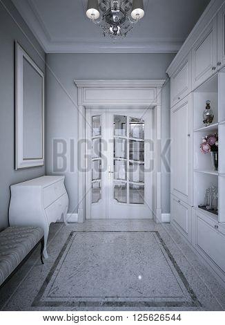 Entrance hall art deco style. 3d render