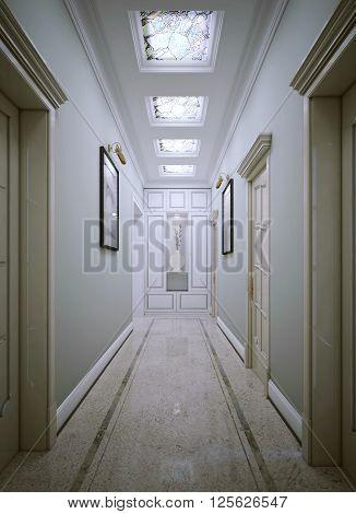 Corridor neoclassic style with concrete flooring. 3d render