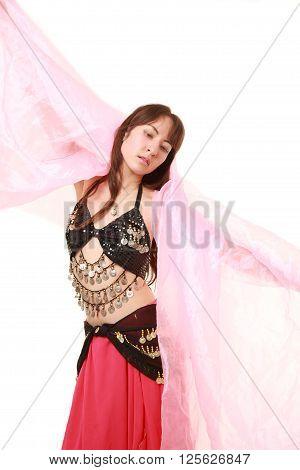 studio shot of belly dancer on white background