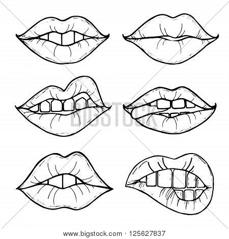 Open female mouth with black lips. Womens lips isolated on a white background. Vector illustration of sexy lips. Mouth kiss.