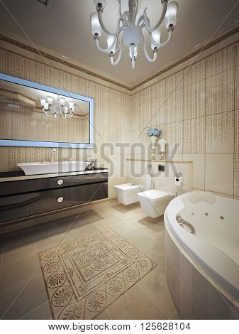 Luxury bathroom with jacuzzi in nouveau style. 3d render