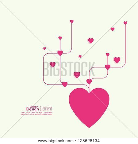 Heart with intersecting curved lines. Pink. The concept of social connections, help charity, network of health facilities. symbol donate