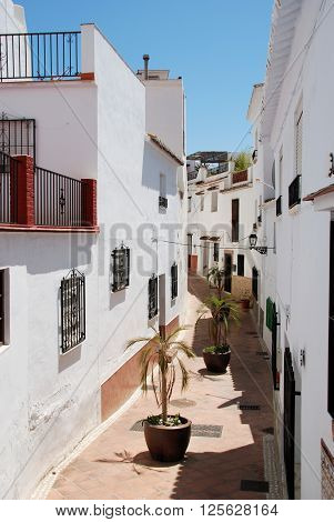 Elevated view along a narrow village street Torrox Malaga Province Andalucia Spain Western Europe.