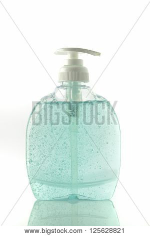 Hand Washing Soap in Turquoise Color shot in studio on White Background
