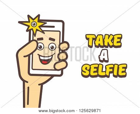 Selfie photo concept. Happy man taking self portrait with smart phone. Man holding mobile phone and taking a selfie. Take a selfie text. Vector cartoon illustration