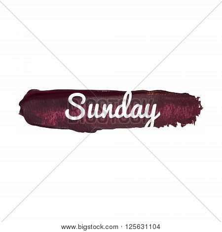Sunday, Day Of The Week. Weekend Vector Word Hand Drawn Illustration Icon Card Isolated Quote.