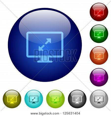 Set of color screen resolution glass web buttons.